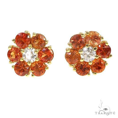 Large Orange Sapphire Diamond Flower Earrings 66903 Style