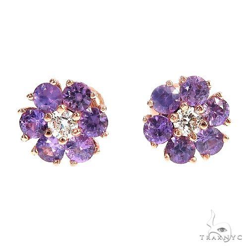 Mini Royal Purple Sapphire Diamond Flower Earrings 66906 Multicolor SAPPHIRE