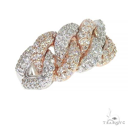 14K Gold 2 Tone Diamond Cuban Ring 66912 Stone