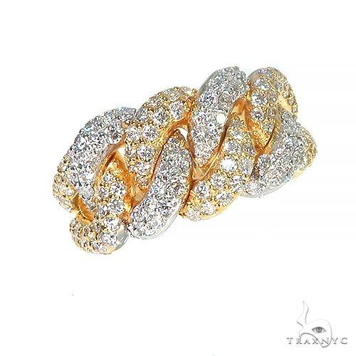 14K Gold 2 Tone Diamond Cuban Ring 66913 Stone