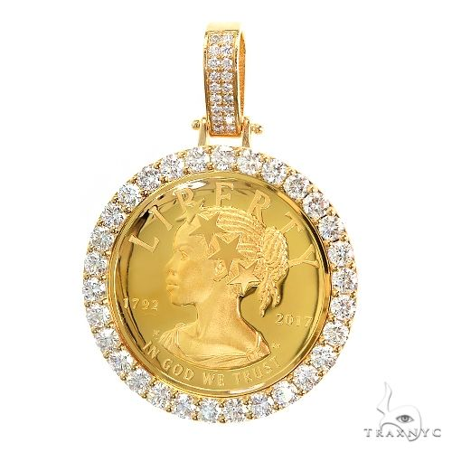 Custom Gold Liberty Coin Diamond Bezel Pendant 66922 Gold Investment Pieces