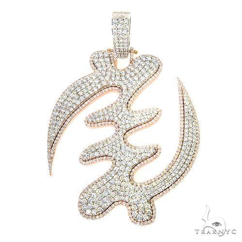Custom Made GYE NYAME Symbol Diamond Pendant 66923 Metal