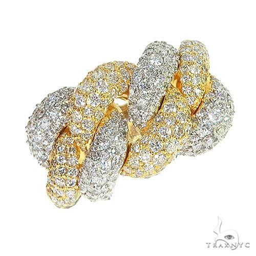 2 Tone 14K Gold Puffy Diamond Cuban Ring 66942 Stone