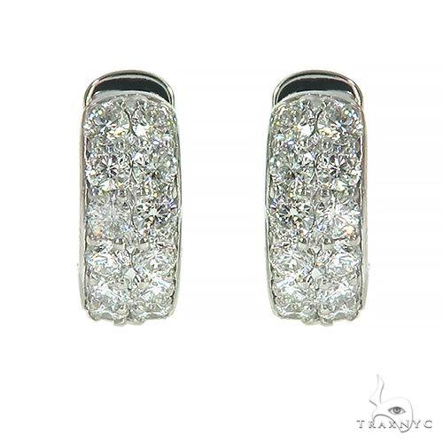 Double Row Diamond Hoop Huggie Earrings 66952 Stone