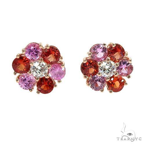 Red&Pink Sapphire Diamond Flower Earrings 66954 Multicolor SAPPHIRE