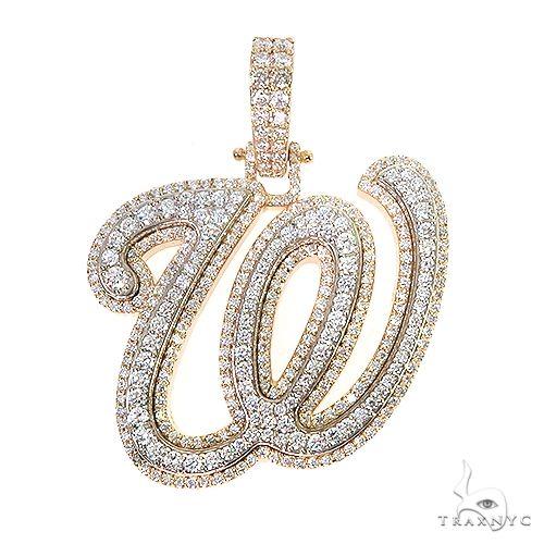 Double Layer Diamond 'W' Pendant 66957 Metal