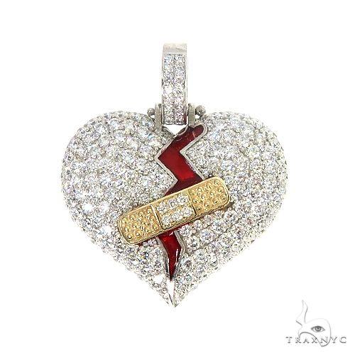 Custom Made Diamond Broken Heart Pendant 66963 Style