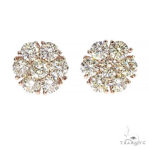 14K Gold 15 Pointer Diamond Flower Earrings 67001 Stone