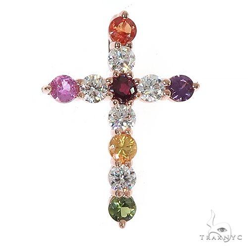 Fruit Loop Diamond Sapphire Cross Pendant 67004 Multicolor SAPPHIRE