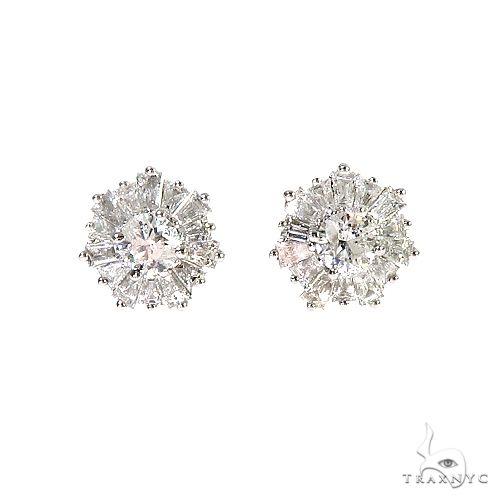 18K Gold Snowflake Diamond Earrings 67021 Stone
