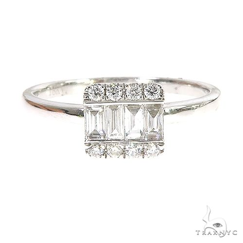 18k Gold Baguette Diamond Engagement Ring 67027 Style