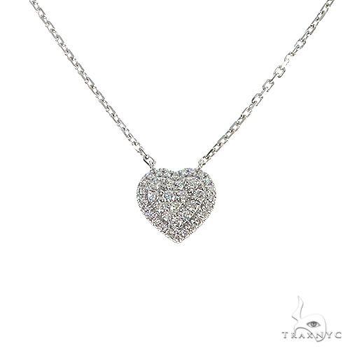 18K Gold Heart Diamond Necklace With Adjustable Chain 67032 Diamond