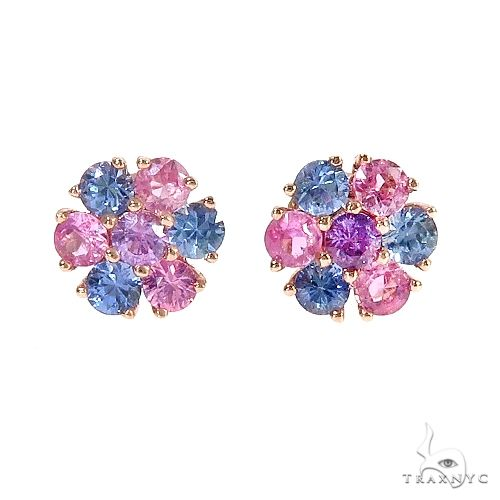 Small Cotton Candy Flower Earrings 67042 Style