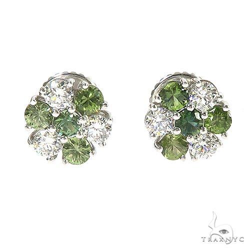 Large Forest Green Diamond Sapphire Flower Earrings 67044 Multicolor SAPPHIRE