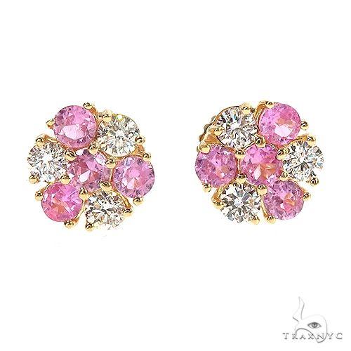 Large Majesty Diamond Sapphire Flower Earrings 67048 Multicolor SAPPHIRE