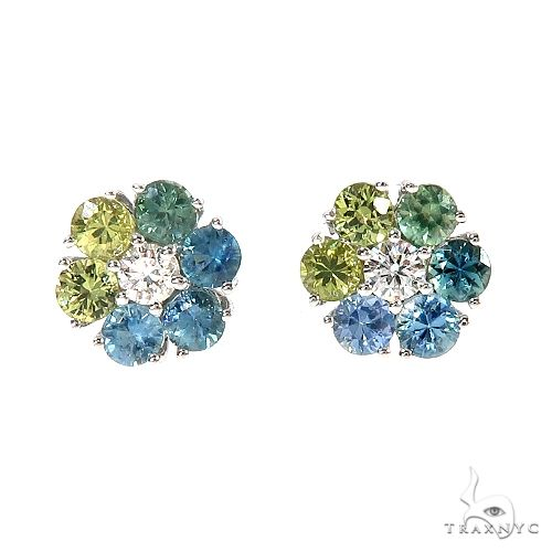 Mini Earth Sapphire Flower Earrings 67049 Multicolor SAPPHIRE