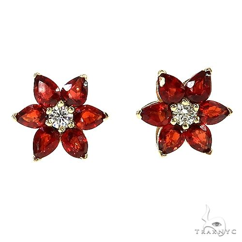 Red Star Sapphire Diamond Flower Earring 67067 Multicolor SAPPHIRE
