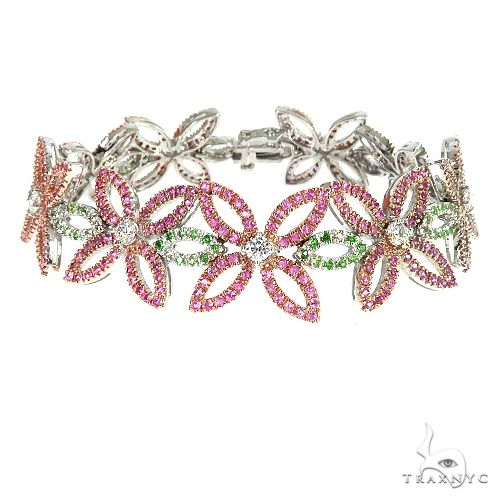 Flower Sapphire Diamond Bracelet 67077 Gemstone