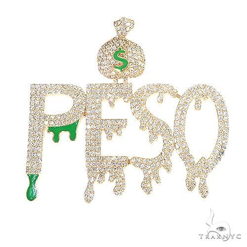 Custom Made 'Peso' Diamond Pendant 67085 Metal
