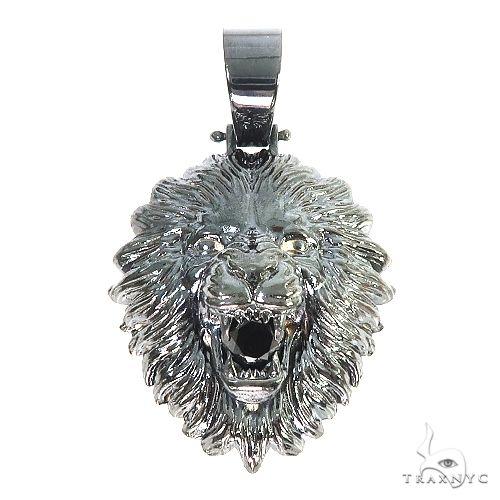 Custom Made Silver Black Rhodium Lion Head Pendant 67110 Metal