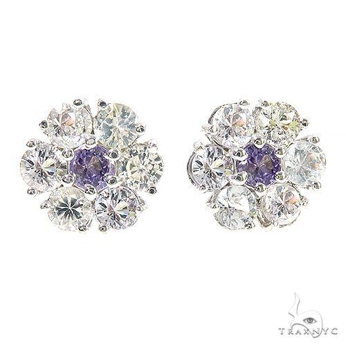White Sapphire Purple center Flower Earrings 67131 Multicolor SAPPHIRE