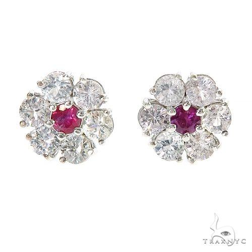 White Sapphire Pink Center Flower Earrings 67132 Multicolor SAPPHIRE