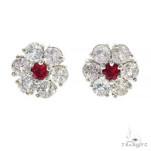 White Sapphire Red Center Flower Earrings 67133 Multicolor SAPPHIRE