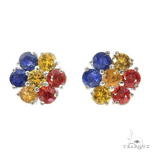 Romania Sapphire Flower Earrings 67134 Multicolor SAPPHIRE