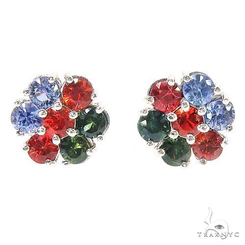 Azerbaijan Sapphire Flower Earrings 67135 Multicolor SAPPHIRE