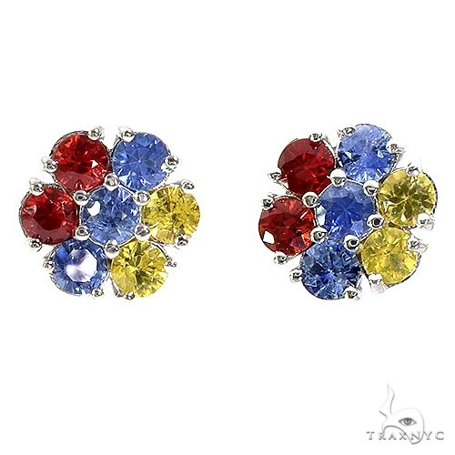Armenia Sapphire Flower Earrings 67139 Multicolor SAPPHIRE