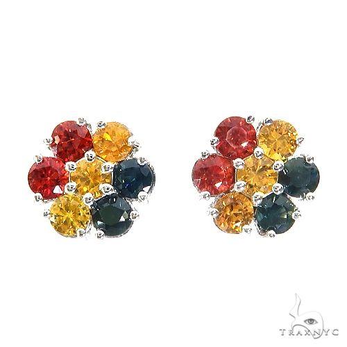 Bolivia Sapphire Flower Earrings 67141 Multicolor SAPPHIRE