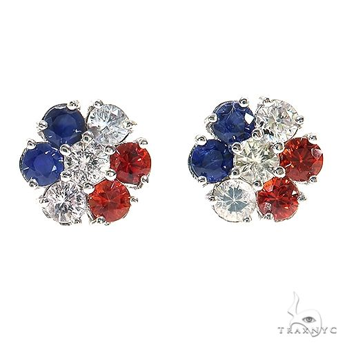 France Sapphire Flower Earrings 67142 Multicolor SAPPHIRE