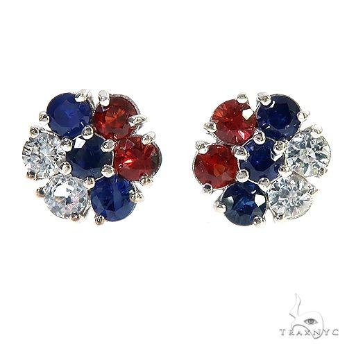 Russia Sapphire Flower Earrings 67143 Multicolor SAPPHIRE