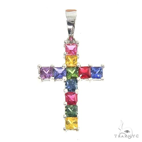 Rainbow Princess Cut Sapphire Cross 67145 Multicolor SAPPHIRE