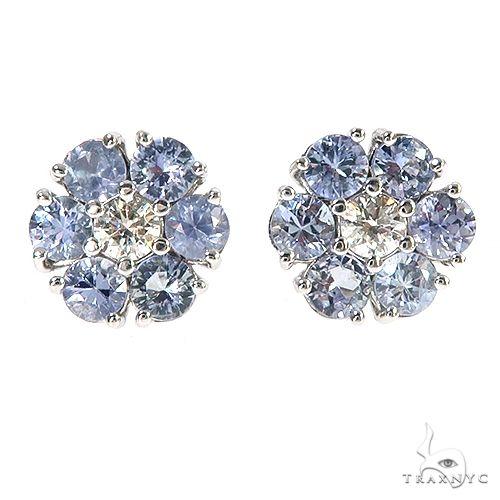 Large Glacier Sapphire Diamond Flower Earrings 67164 Multicolor SAPPHIRE