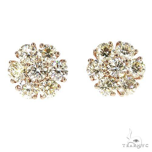 14K Gold 30 Pointer Diamond Flower Earrings 67165 Stone