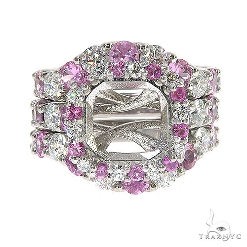 Pink Sapphire Diamond Platinum Engagement Ring Set 67170 Engagement