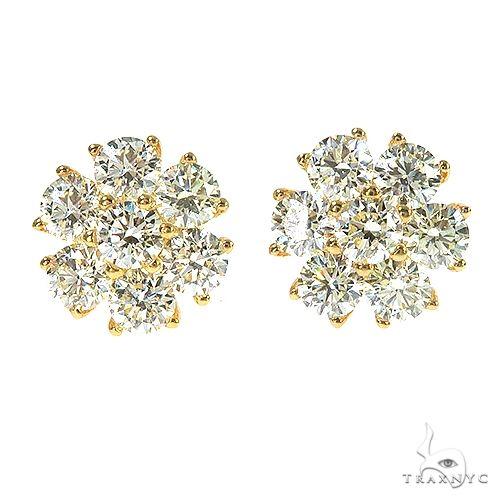 14K Gold 27 Pointer Diamond Flower Earrings 67166 Stone