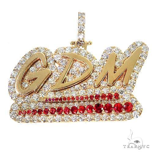 Custom Made 'SDM' Red Sapphire Diamond Pendant 67184 Metal