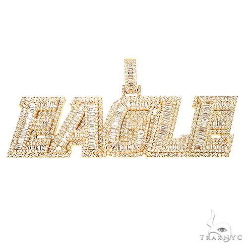 Custom Made Diamond Baguette Name Pendant 67190 Metal