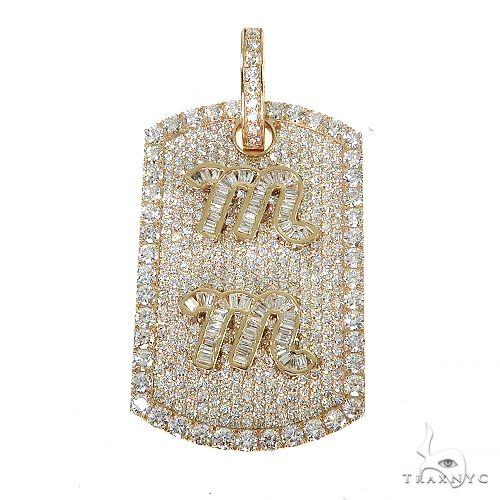 Custom Made Dog Tag 'MM' Initial Diamond Pendant 67196 Metal
