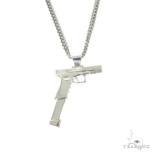 .925 Silver Gun Pendant Cuban Chain Set 67199 Style