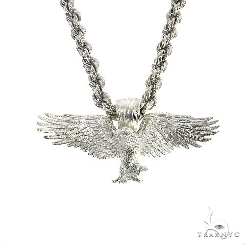TraxNYC Silver Eagle Pendant Rope Chain Set 67200 Style