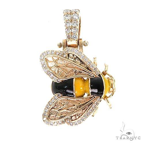 Custom Made Bee Diamond Pendant 67206 Metal