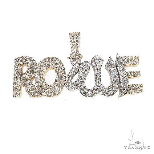 Custom Made Diamond Allah Symbol 'ROWE' Name Pendant 67213 Metal