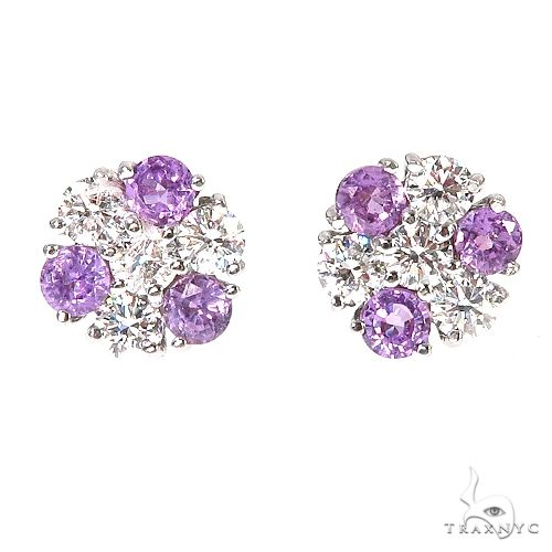 Mini Purple Sapphire Diamond Flower Earrings 67214 Multicolor SAPPHIRE
