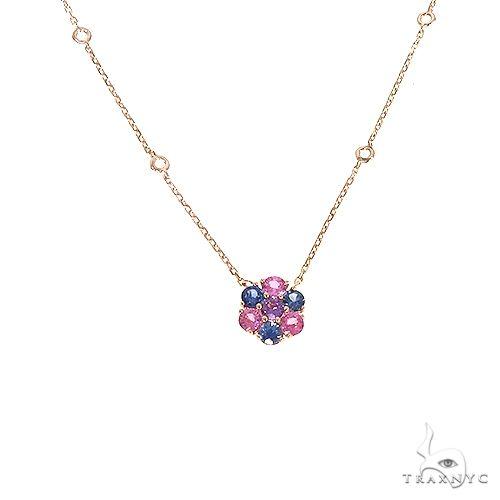 Cotton Candy Sapphire Flower Necklace 67216 Multicolor SAPPHIRE