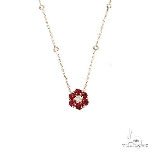 Blood Red Sapphire Diamond Flower Necklace 67217 Multicolor SAPPHIRE