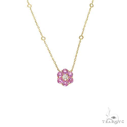 Cherry Blossom Diamond Flower Necklace 67218 Multicolor SAPPHIRE
