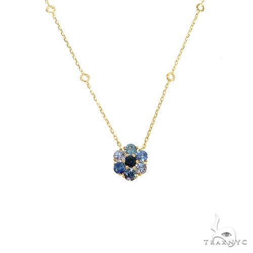 Ocean Blue Sapphire Flower Necklace 67219 Multicolor SAPPHIRE
